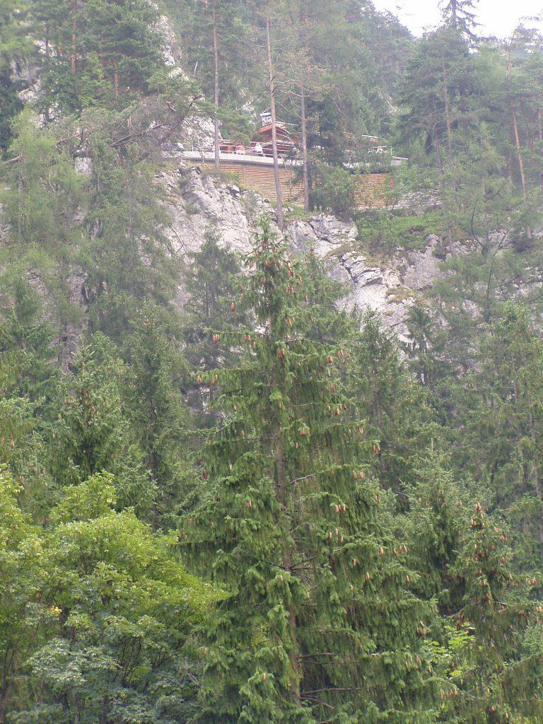Vstup do jeskyně je vidět z údolí.